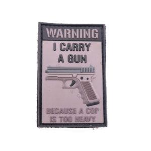 3d-rubber-patch-i-carry-a-gun-al-capone-airsoft-spftair-warning-caution-deutschland-abzeichen-bundeswehr-paintpabb-security-sportschütze-moral-patch-klettpatch