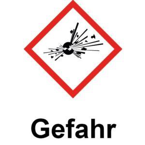 ghs01 explosion gefahr warnhinweis aufkleber pulverschrank munitionsschrank