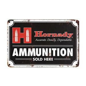 hornady-werbeschild-tin-sign-nostalgie-wiederladen-wiederladepresse-dekoration-jaäger-sportschütze-ammunition-sold-here-99118