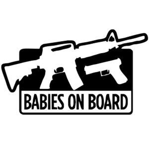baby-on-board-waffe-carsticker-gun-autoaufkleber-waffe-sportschütze-jagd-ar15-aufkleber-glock17-sticker-babies-on-board-guns-car-sticker-schwarz